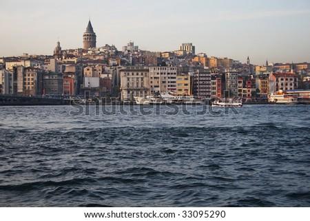 View of Galata Tower and Golden Horn in Istanbul, Turkey - stock photo