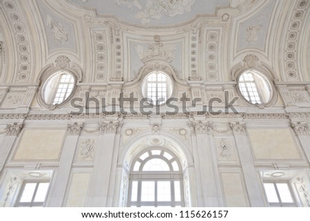 View of Galleria di Diana in Venaria Royal Palace, close to Torino, Piemonte region - stock photo