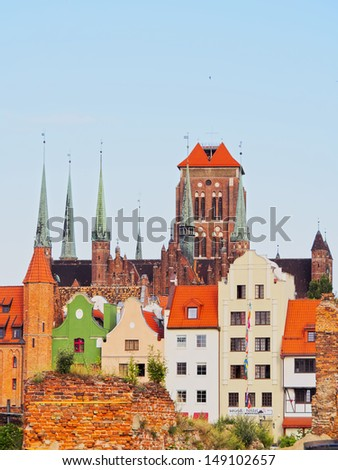 View of Gdansk and its beautiful colorful houses, Poland. - stock photo