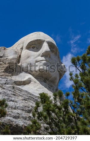 view of George Washington in Mount Rushmore National Monument, South Dakota - stock photo