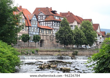 view of german city hann muenden with river fulda - stock photo