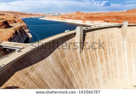 View of Glen Canyon Dam and Lake Powell near Page in Arizona USA. - stock photo