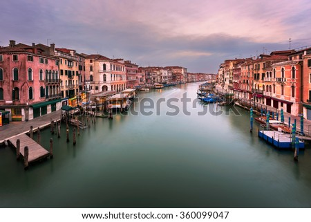View of Grand Canal and Venice Skyline from the Rialto Bridge in the Morning, Venice, Italy - stock photo
