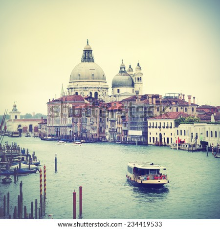 View of Grand Canal in Venice, Italy.  Instagram style filtred image - stock photo