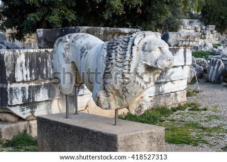 View of granit leon sculpture in Didyma Ancient City in Aydin, Turkey. - stock photo