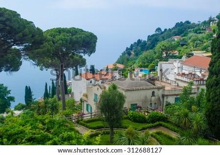 view of green garden of the famous vila rufolo in italian city ravello. - stock photo