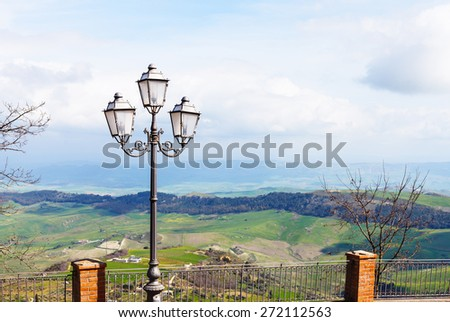 view of green sicilian lands in spring from Aidone town, Italy - stock photo