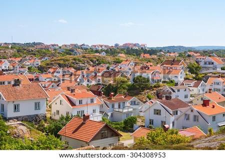 View of Grundsund, a coastal community on the Swedish west coast - stock photo