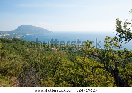View of Gurzuf village and Ayu-Dag or Bear mountain in Crimea - stock photo