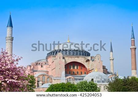 View of Hagia Sofia or Ayasofya in Istanbul, Turkey - stock photo