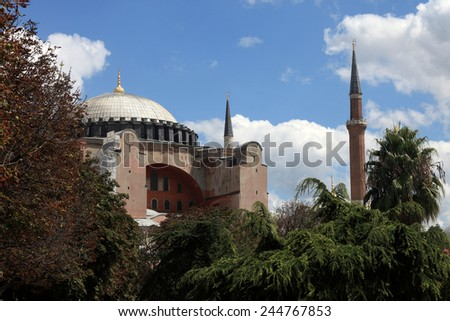 View of Hagia Sophia in Istanbul, Turkey - stock photo