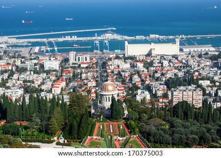 View of Haifa from the Bahai garden - stock photo