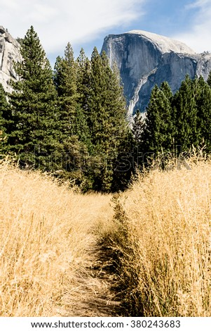 View of Half Dome in Yosemite National Park - stock photo