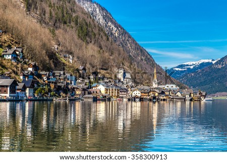 View Of Hallstatt Village And Lake Hallstater See In Alps -Austria,Europe - stock photo
