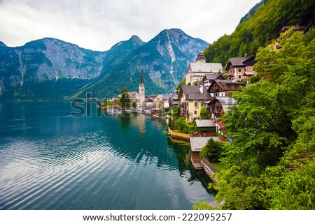 View of Hallstatt village with lake and Alps behind, Austria - stock photo
