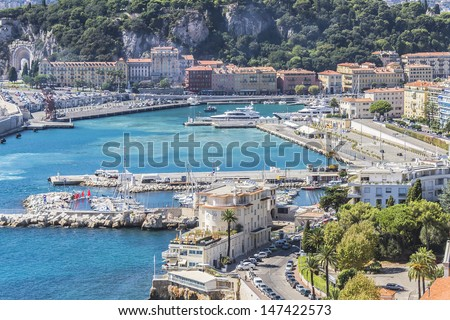 View of Harbor and marina with moored yachts and motorboats in Cannes, Cote d'Azur, France. - stock photo