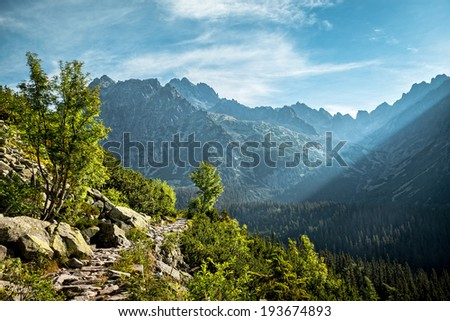 View of High Tatra Mountains from hiking trail. Slovakia. Europe. - stock photo