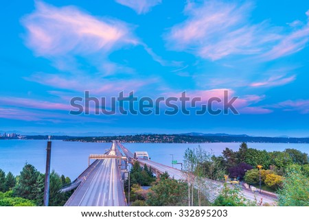 view of high way on night  time,i-90 from seattle to Mercer island,WA,USA. - stock photo