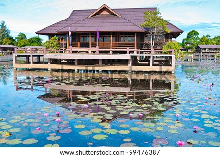 view of  home countryside at lagoon Phatthalung, Thailand - stock photo