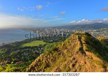 View of Honolulu and Waikiki Beach area from summit of Diamond Head volcano in Oahu, Hawaii - stock photo