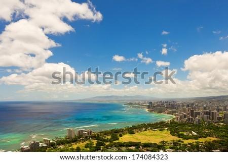 View of Honolulu and Waikiki Beach from atop Diamond Head  - stock photo
