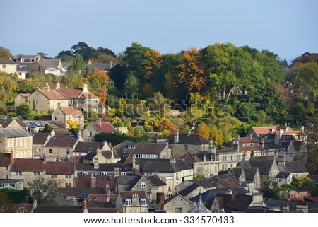 View of House Rooftops in a Beautiful English Town - stock photo