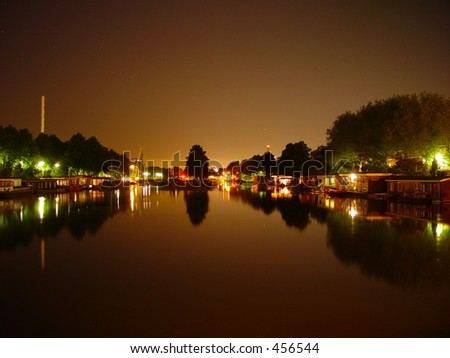View of houseboats by night in Utrecht, the Netherlands - stock photo