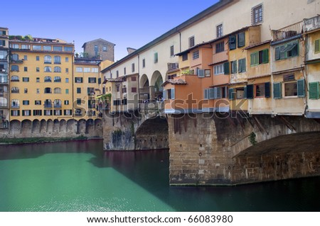 View of Houses and shops at Ponte vecchio � Firenze - Italy - stock photo