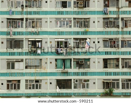 view of housing estate - stock photo