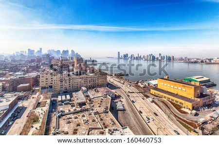 View of Hudson River, New Jersey and the Financial District in New York.  - stock photo
