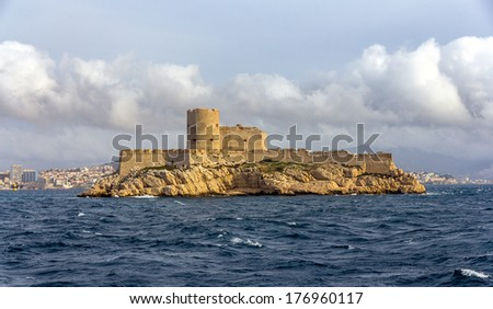 View of If castle in Mediterranean sea - France - stock photo