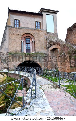 View of Imperial Forum in Rome. Ancient ruins of Rome,Italy - stock photo