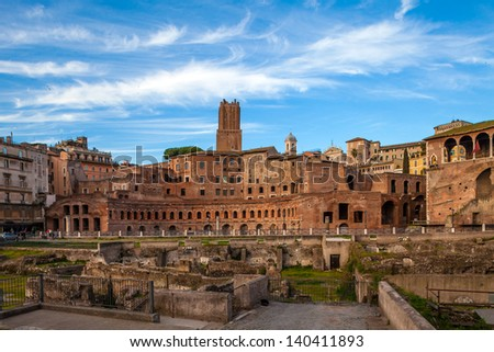 View of Imperial Forums at sunset, Rome, Italy. - stock photo