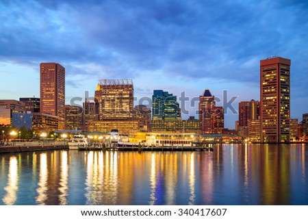 View of Inner Harbor area in downtown Baltimore Maryland USA - stock photo