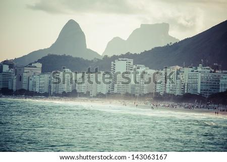 View of Ipanema Beach in the evening, Brazil - stock photo