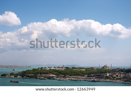 View of Istambul from Galata tower over blue sky - stock photo