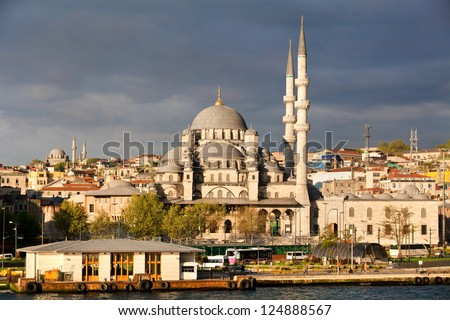 View of Istanbul city , the Golden Horn and New Mosque (Yeni Valide Camii), Turkey - stock photo