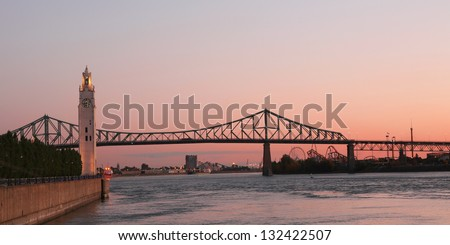 View of Jacques Cartier bridge in Montreal, Quebec by a nice autumn morning - stock photo