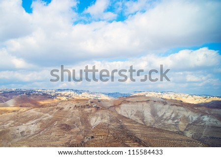 View of Jerusalem from the Judean Desert - stock photo