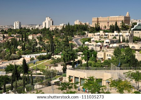View of Jerusalem landscape from Old city wall. - stock photo