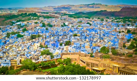 View of Jodhpur, the Blue City, from Mehrangarh Fort, Rajasthan, India - stock photo