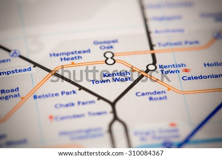 View of Kentish Town West station on a London subway map. - stock photo