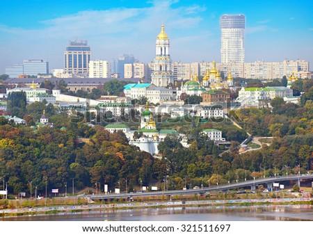 View of Kiev Pechersk Lavra also known as the Kiev Monastery of the Caves. Ukraine - stock photo