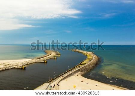 View of Kolobrzeg port entrance, Baltic sea, Poland - stock photo