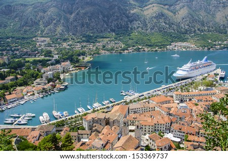 View of kotor old town from Lovcen mountain in Kotor, Montenegro. Kotor is part of the unesco world - stock photo