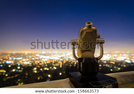 View of L.A. Griffith Observatory - stock photo