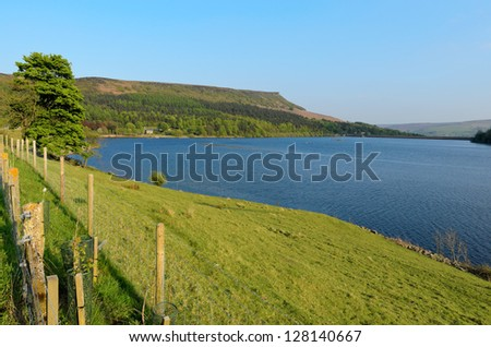 View of Ladybower Reservoir looking towards Stanage Edge in the Peak District National Park Derbyshire. - stock photo