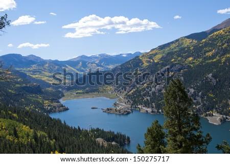 View of Lake San Cristobal in brilliant fall colors. Near lake City, Colorado. - stock photo