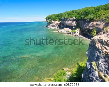 View of Lake Superior from Pictured Rocks National Lakeshore in Michigan - stock photo