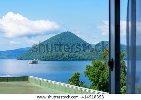 View of Lake Toya (Toyako) in Hokkaido, Japan. - stock photo